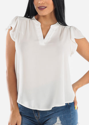Lightweight Short Sleeve White Blouse