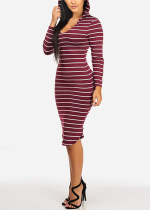 Casual Burgundy Stripe Bodycon Dress