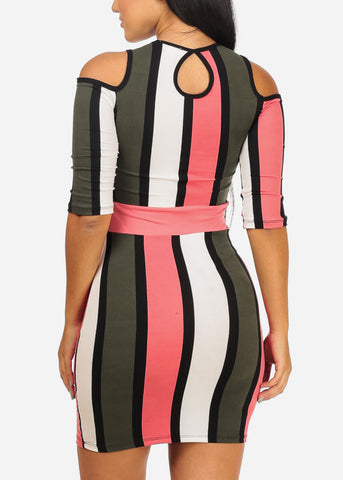 Cold Shoulder Pink Stripe Dress