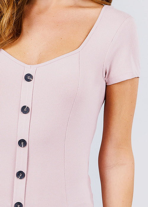 Button Front Light Pink Ribbed Top