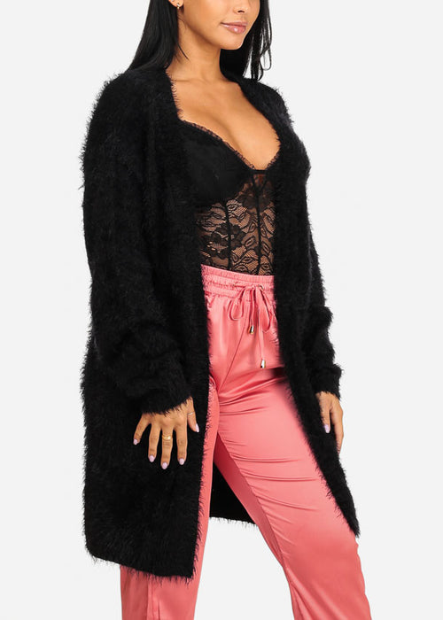 Fuzzy Open Front Black Cardigan