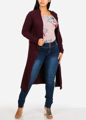 Cozy Open Front Burgundy Maxi Cardigan