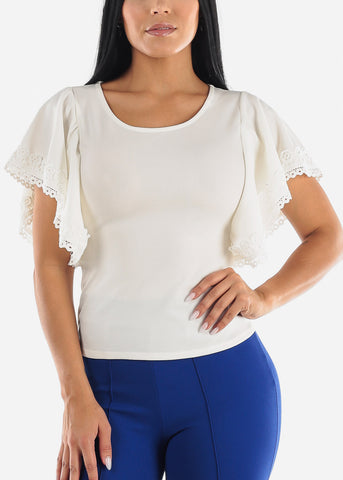 Butterfly Sleeve White Top