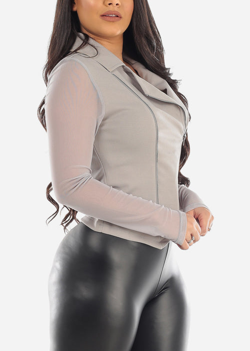 Sexy Stylish Fashionable Mesh Sleeves Zip Up Light Grey Jacket