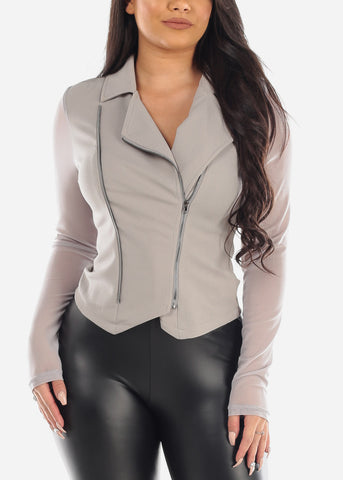 Image of Sexy Stylish Fashionable Mesh Sleeves Zip Up Light Grey Jacket