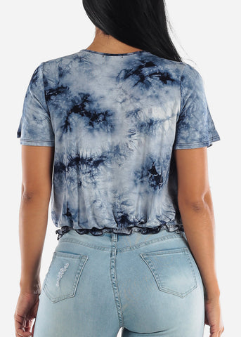 Wrap Front Tie Dye Navy Top