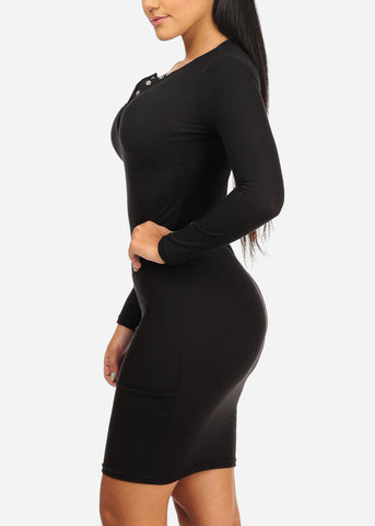 Image of Black Rib Knit Midi Dress