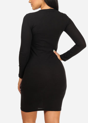 Black Rib Knit Midi Dress