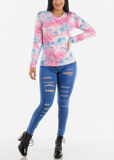 Pink Slip On Tie Dye Top