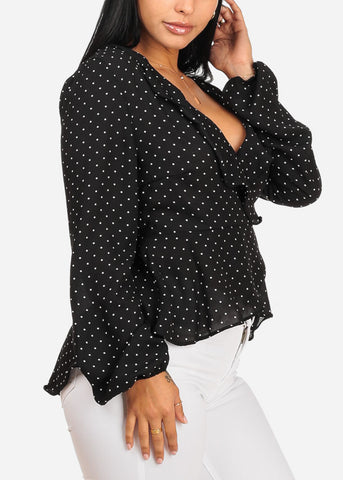 Black Polka Dot Wrap Front Chiffon Blouse