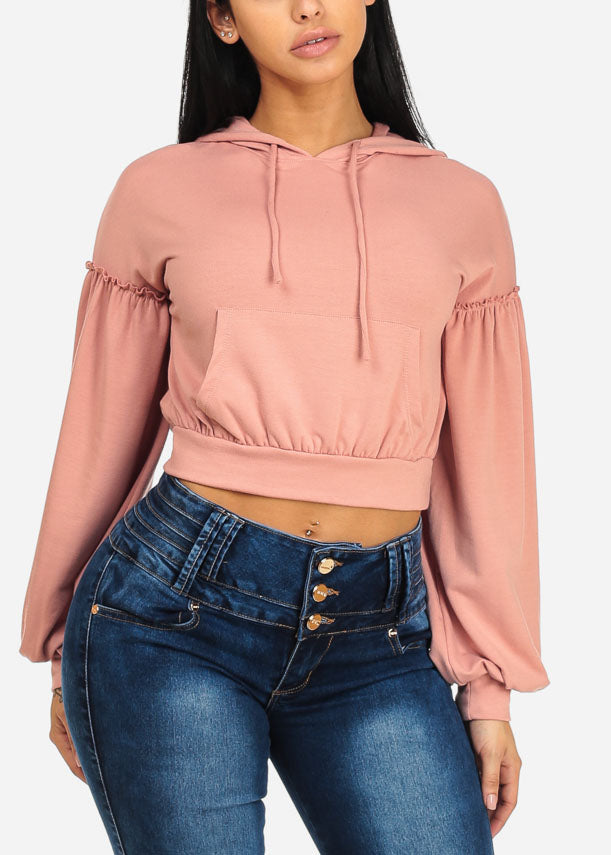 Cute Mauve Stretchy Sweater W Hoodie