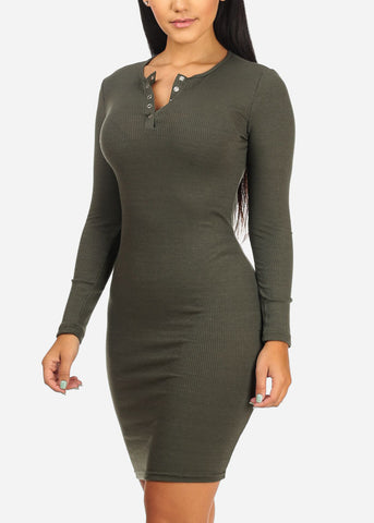 Image of Olive Rib Knit  Midi Dresses