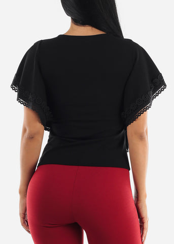 Butterfly Sleeve Black Top