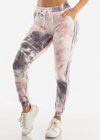 Image of Grey & Pink Tie Dye Joggers