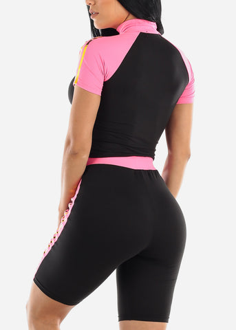 Colorblock Pink Top & Biker Shorts (2 PCE SET)