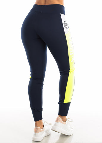 "Image of Activewear Neon Green & Navy Leggings ""Love"""