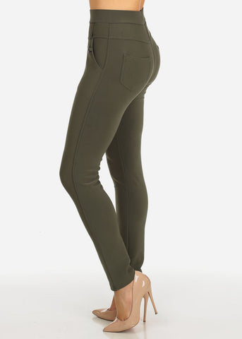 Image of High Waisted Olive Skinny Pants