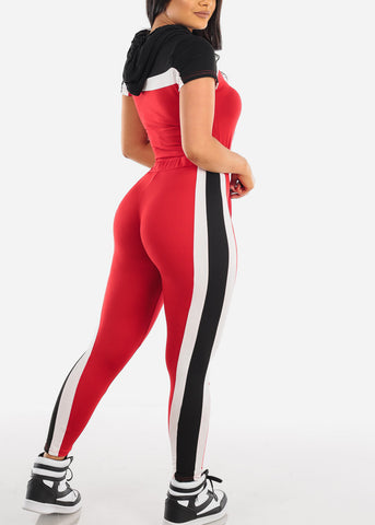 Image of Sexy Short Sleeve Sporty Look Sport Suit Tracksuit Stripe Colorblock Trouser Set Color Block Black Red And White Two Piece Set For Women Ladies Junior