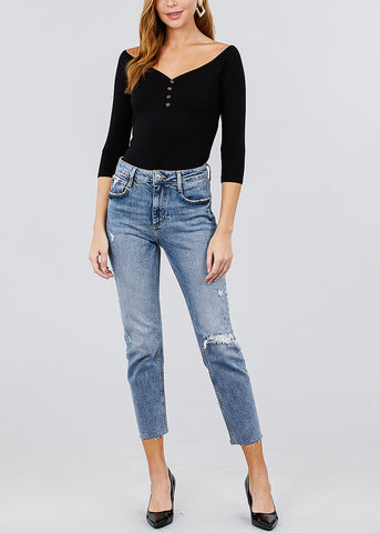 Half Button Black Ribbed Top