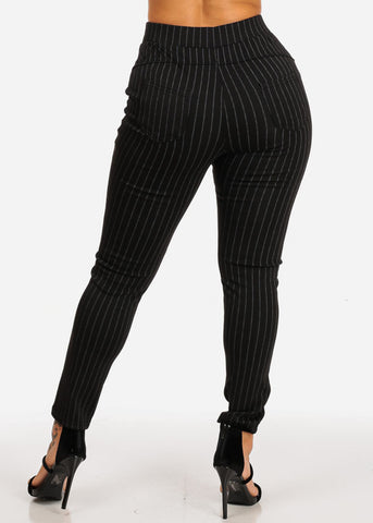 Black Stripe High Rise Pants
