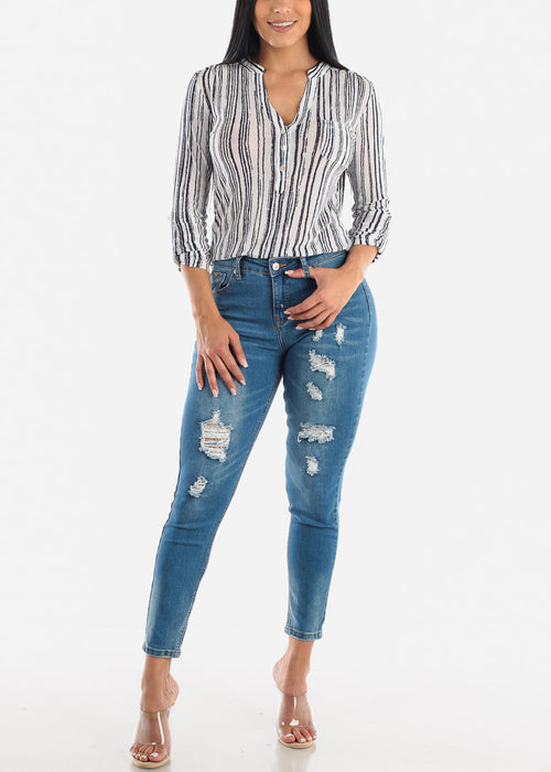 Blue Stripe Stretchy Top