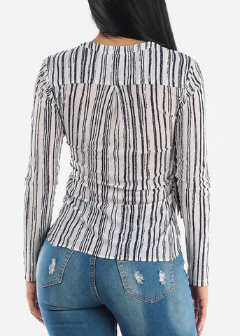 Image of Blue Stripe Stretchy Top