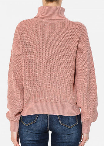 Image of Turtle Neck Oversized Mauve Sweater