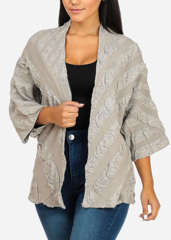 Wide Sleeve Grey Cardigan