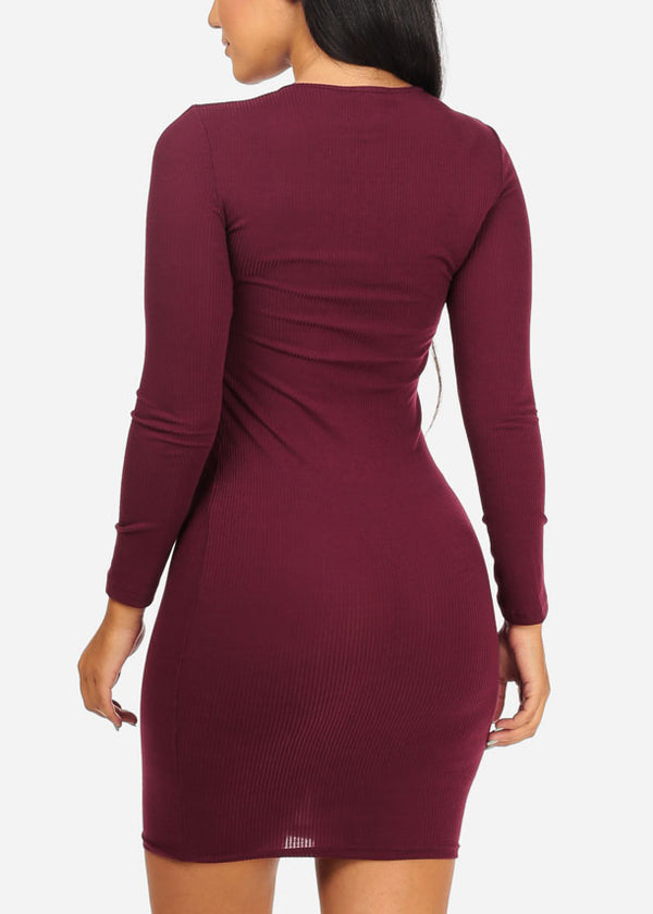 Burgundy Rib Knit Midi Dresses