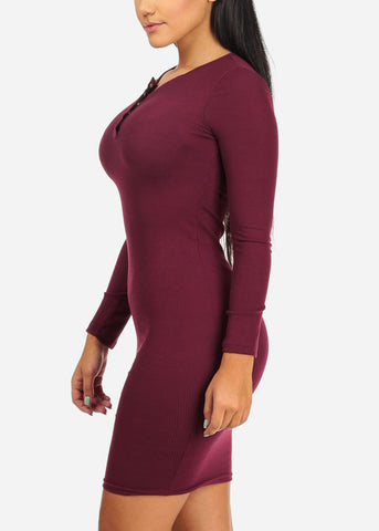Image of Burgundy Rib Knit Midi Dresses