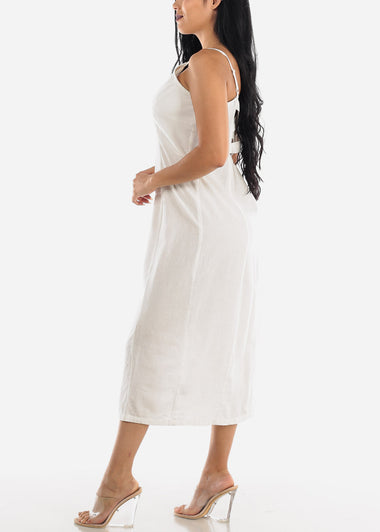 Button Up Off White Cotton Maxi Dress