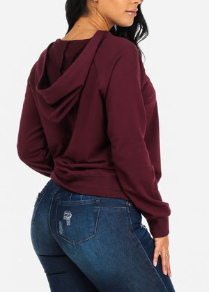 Cute Burgundy Lace Detail Sweater