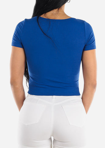 Short Sleeve Royal Blue Crop Top