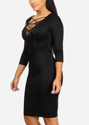 Elegant Solid Black  Midi Dress