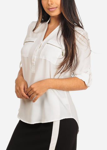 Women's Junior Ladies Stylish Lightweight Solid White 3/4 Roll Up Sleeve Dressy Lightweight Blouse Tunic Top
