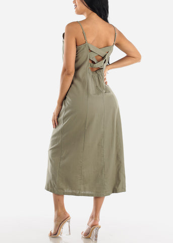 Image of Button Up Olive Cotton Maxi Dress