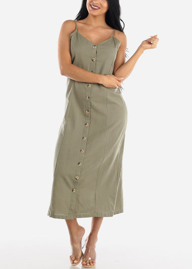 Button Up Olive Cotton Maxi Dress