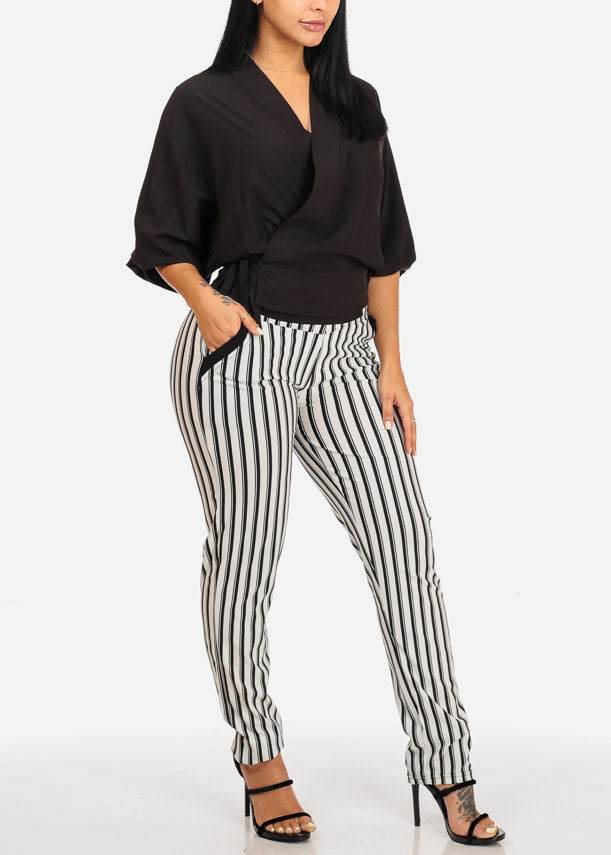 Plus Size High Rise White Stripe Pants