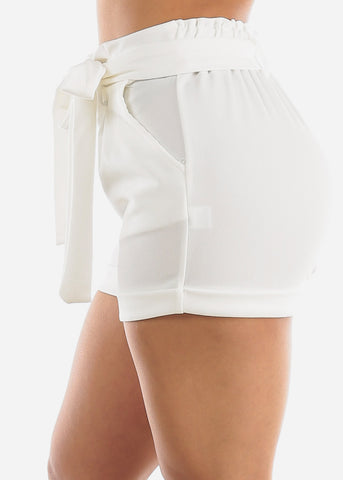 High Rise White Paperbag Shorts