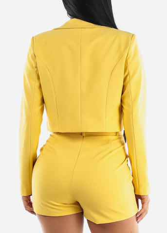 Image of Yellow Crop Blazer