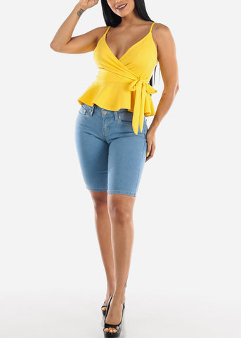Yellow Wrap Front Tie Peplum Top