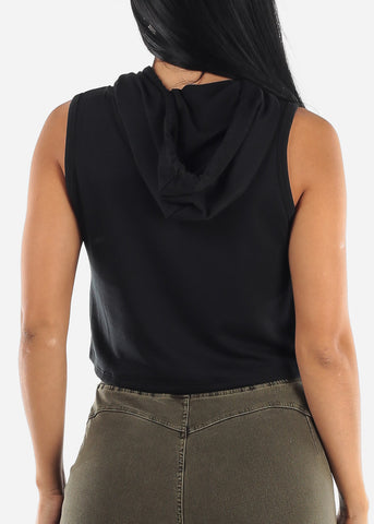 Sleeveless Black Cropped Hoodie