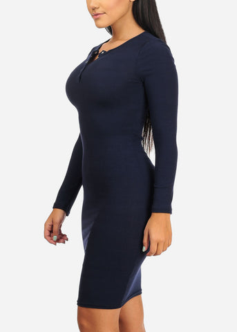 Image of Navy Rib Knit  Midi Dress