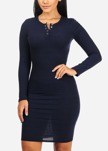 Navy Rib Knit  Midi Dress