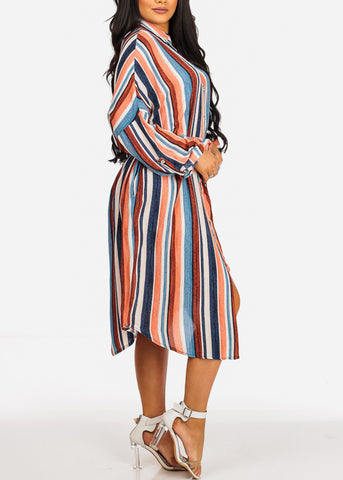 Summer Lightweight Blue Stripe Print 3/4 Sleeve Dress