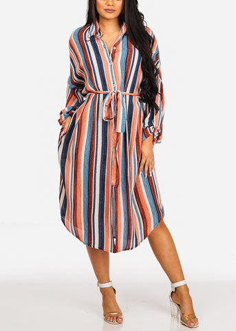 Image of Summer Lightweight Blue Stripe Print 3/4 Sleeve Dress