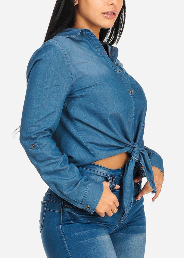 Med Wash Button Up Denim Top