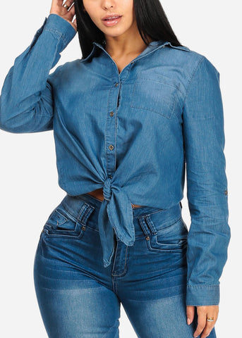 Image of Med Wash Button Up Denim Top