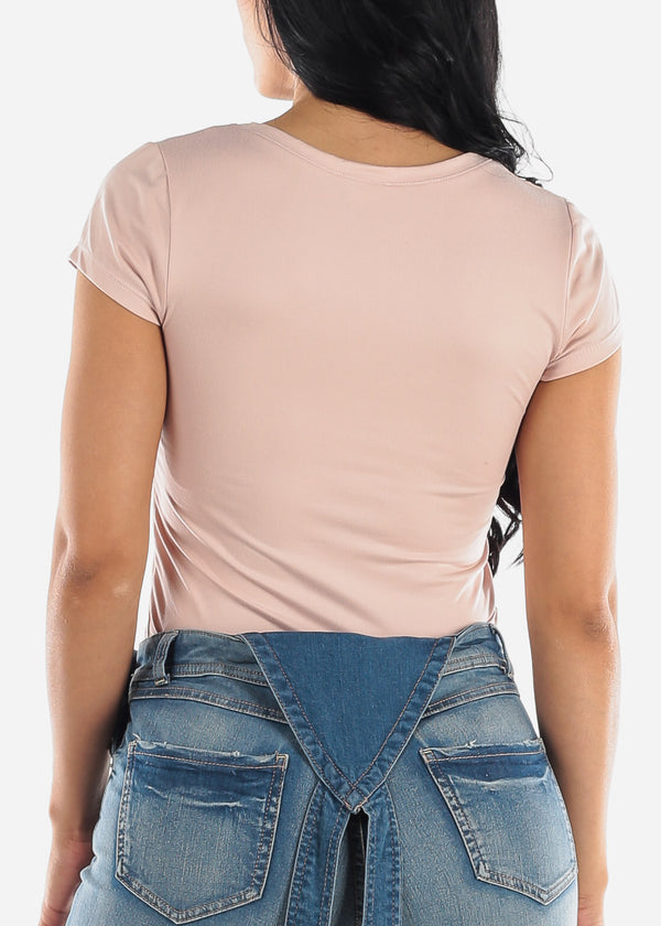 Basic V Neck Rose Top