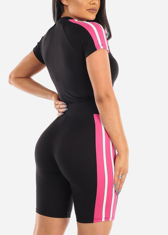 Sexy Short Sleeve Black Sporty Stripe Crop Top And Biker Shorts Two Piece Set For Women Ladies Junior 2019 Tracksuits